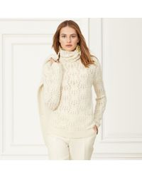 Ralph Lauren | Natural Pointelle Cashmere Turtleneck | Lyst