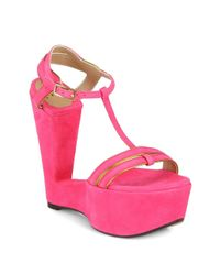 Sw1 | Pink Levity Suede Wedge Sandals | Lyst