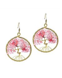 Aeravida | Pink Eternal Tree Of Life Rose Quartz Branch Brass Dangle Earrings | Lyst