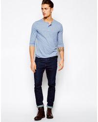 ASOS | Blue 3/4 Sleeve Grandad In Neppy Fabric for Men | Lyst