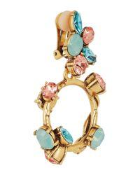 Oscar de la Renta | Green Gold-Tone Crystal Earrings | Lyst