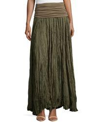 Donna Karan   Green Crushed Silk Maxi Skirt With Foldover Waist   Lyst