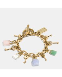 COACH - Multicolor Lock And Key Charm Bracelet - Lyst