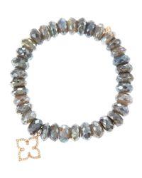 Sydney Evan - Gray Moroccan Star Labradorite Bead Bracelet with Pav Diamonds - Lyst