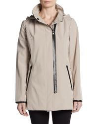 Via Spiga | Gray Faux Leather-trimmed Soft Shell Hooded Jacket | Lyst