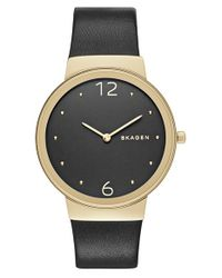 Skagen - Metallic 'freja' Leather Strap Watch - Lyst