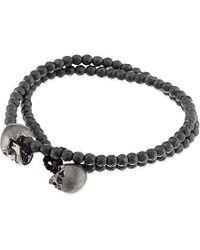 Luis Morais | Black Double Wrap Skull Bracelet | Lyst