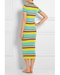 DKNY - Multicolor Striped Ribbed Stretch-Jersey Midi Dress - Lyst