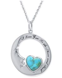 Macy's - Blue Turquoise Heart Moon Pendant Necklace (10mm) In Sterling Silver - Lyst