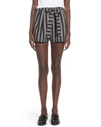 Lush | Black Print Tie Front Woven Shorts | Lyst