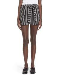 Lush - Black Print Tie Front Woven Shorts - Lyst