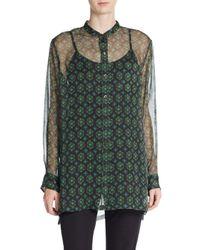 Dries Van Noten - Green Geo-print Silk Chiffon Blouse - Lyst