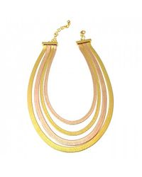 Tuleste - Metallic Rosegold And Gold Snake Multistrand Necklace - Lyst