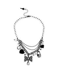 Betsey Johnson - Blackplated Crystal Charm Frontal Necklace - Lyst