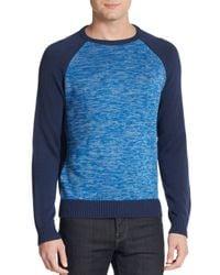 Original Penguin - Blue Colorblock Raglan Sleeve Sweater for Men - Lyst