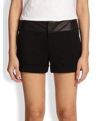 Alice + Olivia - Black Leatherwaistband Cuff Shorts - Lyst