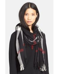 Burberry - Black Check Merino Wool Scarf - Lyst