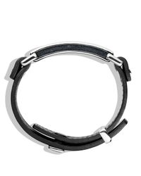 David Yurman - Pavé Id Bracelet With Black Diamonds In Black Leather for Men - Lyst