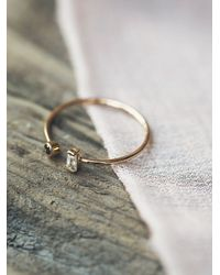 Free People - Metallic Baguette Diamond Open Ring - Lyst