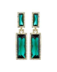 Mikey | Green Twin Rectangle Design Drop Earring | Lyst
