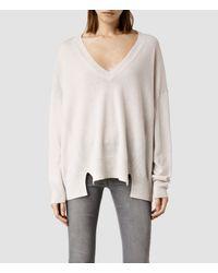 AllSaints - White Atlas V-neck Sweater - Lyst