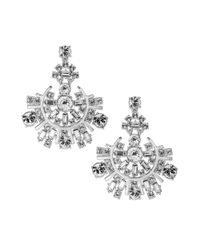 kate spade new york - Metallic New York Rhodiumplated Baguette and Round Crystal Drop Earrings - Lyst