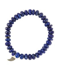 Sydney Evan - Blue 8Mm Faceted Lapis Beaded Bracelet With 14K Gold/Diamond Small Horn Charm (Made To Order) - Lyst