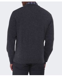 Gant - Gray V-neck Lambswool Jumper for Men - Lyst