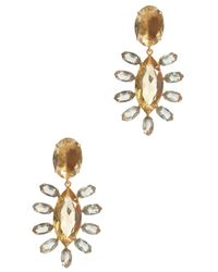 Bounkit | Metallic Gold & Crystal Drop Earring | Lyst