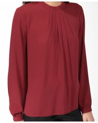 Forever 21 - Purple Pleated Burnished Button Top - Lyst