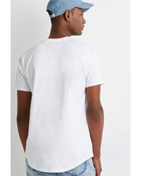 Forever 21 | White Curved Hem Raglan Tee for Men | Lyst