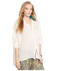 Denim & Supply Ralph Lauren   Natural Button-front Long-sleeve Blouse   Lyst