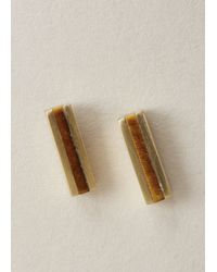 Ming Yu Wang - Brown Brass / Tiger's Eye Line Earrings - Lyst