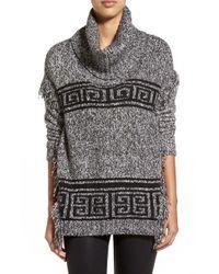 Kensie   Black Fringed Cowl-neck Sweater   Lyst
