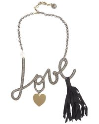 Lanvin | Metallic Love Crystal Necklace | Lyst