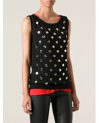 Moschino - Metallic Button Embellished Sweater - Lyst