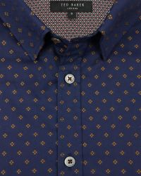 Ted Baker | Blue Fil Coupé Shirt for Men | Lyst