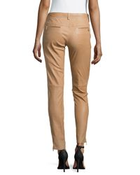 ESCADA - Natural Biker-style Jeans With Zip Details - Lyst