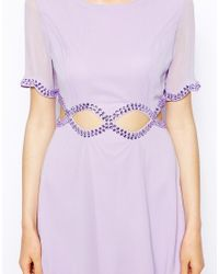 AX Paris - Purple Dress With Diamond Waist Cut-out - Lyst