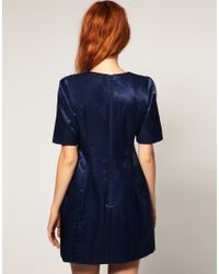 ASOS | Shift Dress With Shoulder Beading - Blue | Lyst