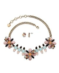 Palmbeach Jewelry - Pink Multicolor Crystal Vintage Floral Motif 2-piece Necklace And Earrings Set In Antique Gold Tone - Lyst