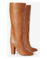 Express - Brown Heeled Stovepipe Boot - Lyst