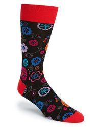 Bugatchi - Black Floral Print Cotton Blend Socks for Men - Lyst