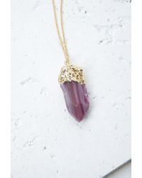 Forever 21 | Metallic Faux Geode Pendant Necklace | Lyst