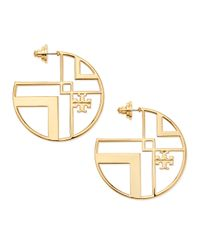 Tory Burch | Metallic Chevron Cutout Hoop Earrings with Logo | Lyst