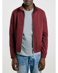 TOPMAN - Red Burgundy Harrington Jacket With Check Lining for Men - Lyst