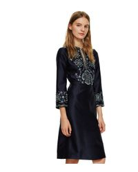 Tory Burch | Blue Embellished Silk Gazar Dress | Lyst