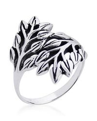 Aeravida - Metallic Nature Exotic Double Leaves Wrap Sterling Silver Ring - Lyst
