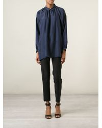 Burberry Brit - Blue Oversized Collar Blouse - Lyst