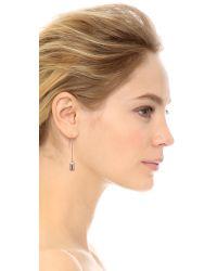 Rebecca Minkoff - Metallic Rectangle Metal Stud Threader Earrings Rhodium - Lyst